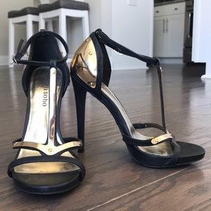 Gorgeous black and gold plated stilettos